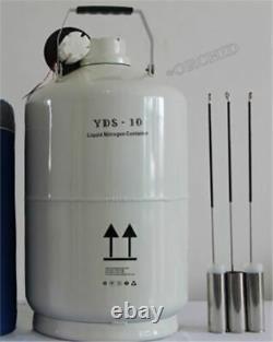 10L Cryogenic Container Liquid Nitrogen Dewar Tank Brand New kp