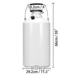 10L Liquid Nitrogen Tank Cryogenic Container LN2 Dewar+6 Pcs Pails+Lock Cover