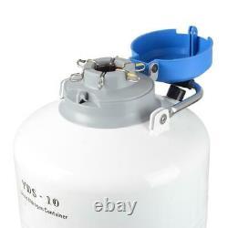 10L Liquid Nitrogen Tank Cryogenic Container LN2 Dewar+6Pcs Pails+Lock Cover