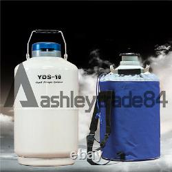 1PCS YDS-10 10L Cryogenic Liquid Nitrogen Container LN2 Tank Dewar with Straps