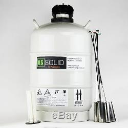 20 L Liquid Nitrogen Tank LN2 Dewar Cryogenic Container 6 Canisters U. S. Solid