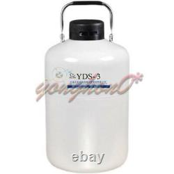 3L YDS-3 Liquid Nitrogen Tank Cryogenic LN2 Container Dewar with Straps 3Pcs Pails