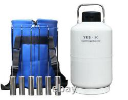 Cryo Liquid Nitrogen Storage Containers 10 Liter LN2 Dewar Tank With 6 Canisters