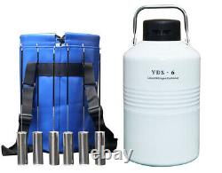 Cryogenic Containers 6L Liquid Nitrogen Tanks 6 Liter LN2 Dewar With 6 Canisters