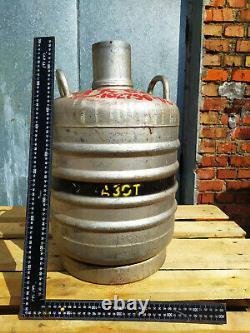 Liquid Nitrogen Aluminum Container Tank Cryogenic Dewar / Vintage USSR