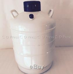 New 30L Liquid Nitrogen Tank Cryogenic Container LN2 Dewar+6Pcs Pails+Lock Cover
