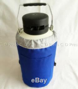 New 3L Liquid Nitrogen Tank Cryogenic Container LN2 Dewar+6Pcs Pails+Lock Cover