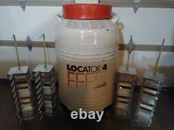 Thermolyne Locator 4 Liquid Nitrogen Dewar With 4 Racks & Nitrogen Monitor In Lid