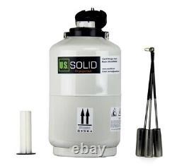 U. S. SOLID 10L Liquid Nitrogen Tank Dewar Cryotank With Safety Gloves & Cover