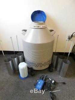 Union Carbide 35VHC Liquid Nitrogen Cryogenic Dewar with 6 Canisters & Alarm